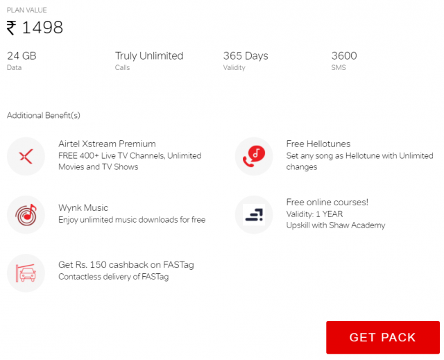 Get lots of additional benefits on airtel truly unlimited pack of Rs. 1498