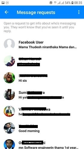 Message requests in Facebook  that you don't know