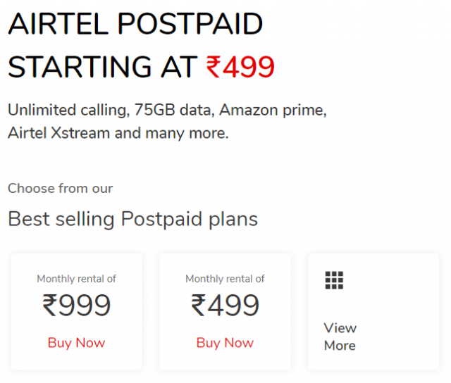 Best Airtel post-paid plan only at Rs. 499