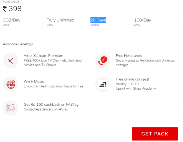 Get lots of additional benefits on airtel truly unlimited pack of Rs. 398
