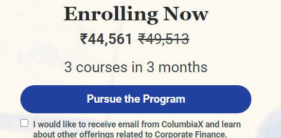 10% OFF - Professional Certificate in Corporate Finance by ColumbiaX (online learning)