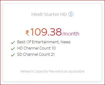 Get a lot of benefit on Hindi Starter HD at Rs.109.38/month by Tata Sky