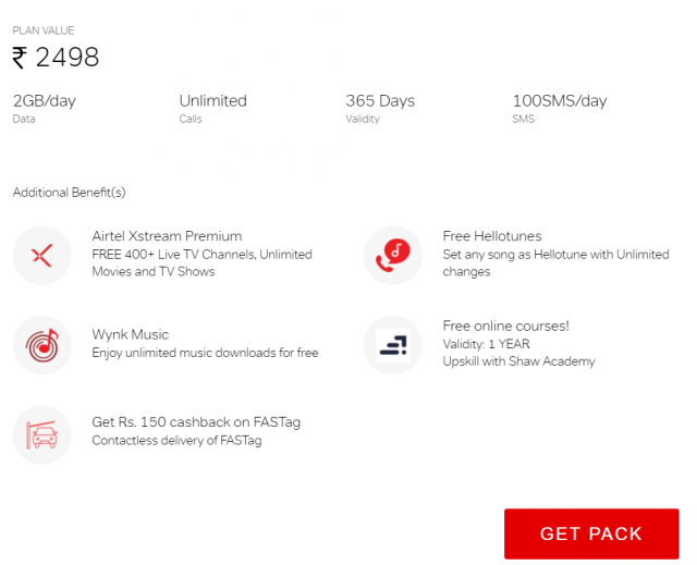 Get lots of additional benefits on airtel truly unlimited pack of Rs. 2498