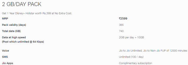 Get 1-year Disney+ Hotstar Worth Rs.399 at No Extra Cost only on jio's popular plan of Rs. 2599