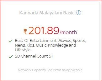 Get a lot of benefits on Kannada Malayalam Basic at only Rs.201.89/month by Tata Sky