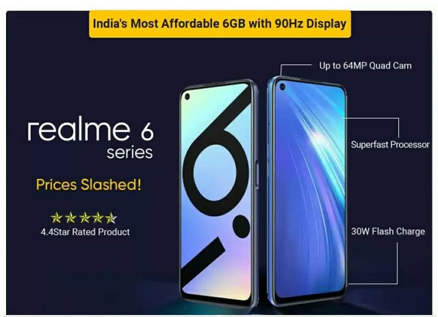 Rs. 3000/- OFF - Realme 6 with 6GB RAM and 90hz display