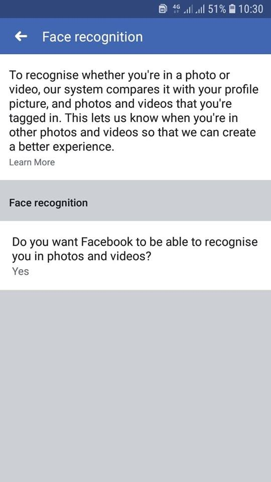 Turn on face recogniton in your Facebook