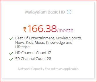 Get a lot of benefit on Malayalam Basic HD at Rs.166.38/month by Tata Sky