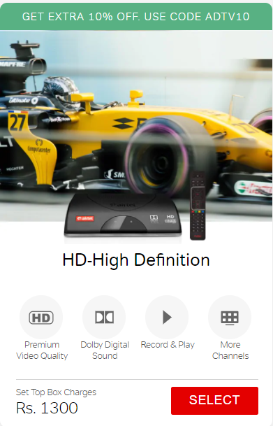 Get EXTRA 10% OFF on airtel HD-High Definition Set Top Box