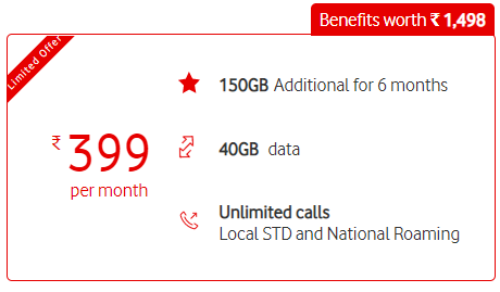 Get benefits worth Rs. 1,498 on the recharge of Rs.399 by Vodafone