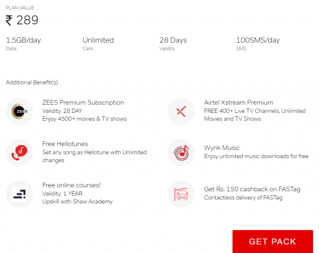 Get lots of additional benefits on airtel truly unlimited pack of Rs. 289