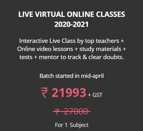 Save Rs.5007 on LIVE VIRTUAL ONLINE CLASSES 2020-2021 for STD 11 by AHAGURU