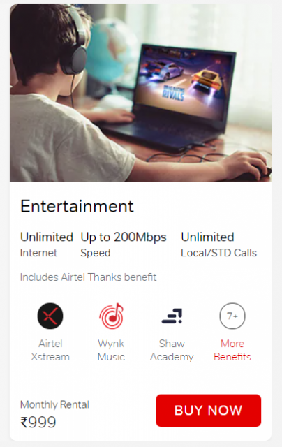 Get lots of additional benefits on airtel broadband connection of Rs. 999