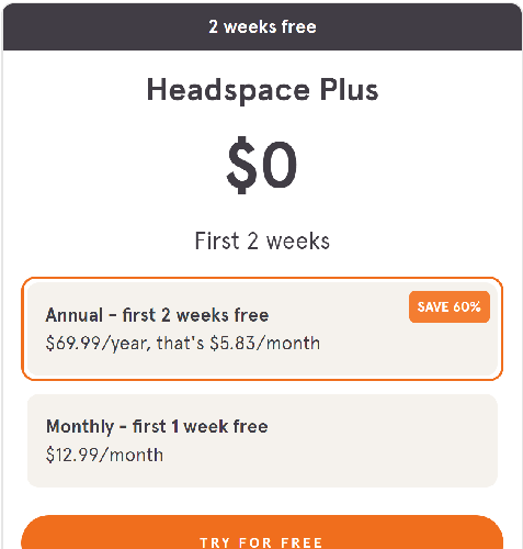 Learn Meditation with Headspace - 7 to 14 Days FREE trial