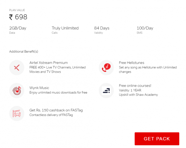 Get lots of additional benefits on airtel truly unlimited pack of Rs. 698