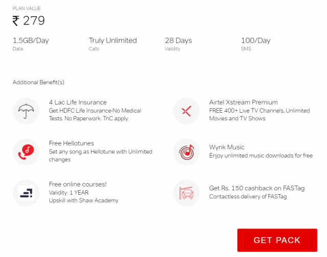 Get lots of additional benefits on airtel truly unlimited pack of Rs. 279
