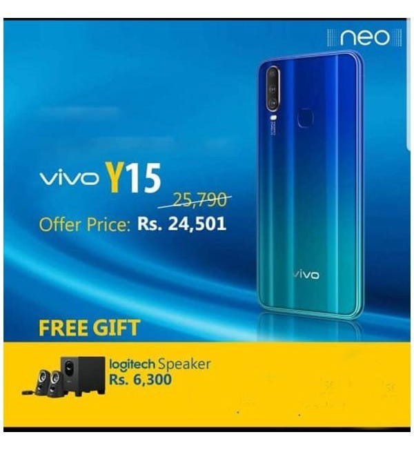 5% Discount on Vivo Y15 Smartphone (4GB RAM, 64GB Storage) With Free LOGITECH Speaker
