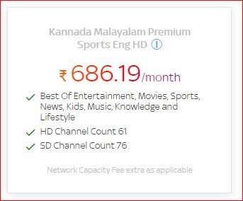 Get a lot of benefits on Kannada Malayalam Premium Sports English HD pack of Rs.686.19/month, by Tata Sky