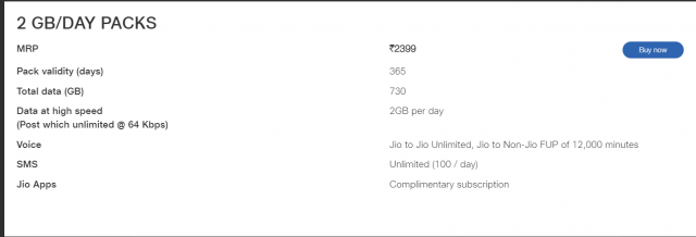 Get Jio to Jio Unlimited Voice Call and several other offers as well on this 2GB/DAY Pack of Rs.2399 by JIO