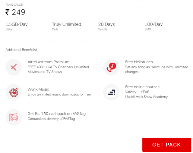 Get lots of additional benefits on airtel truly unlimited pack of Rs. 249