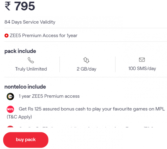 Get ZEE5 Premium Access for 1year on VI's Unlimited Data & Calling Plan of Rs. 795