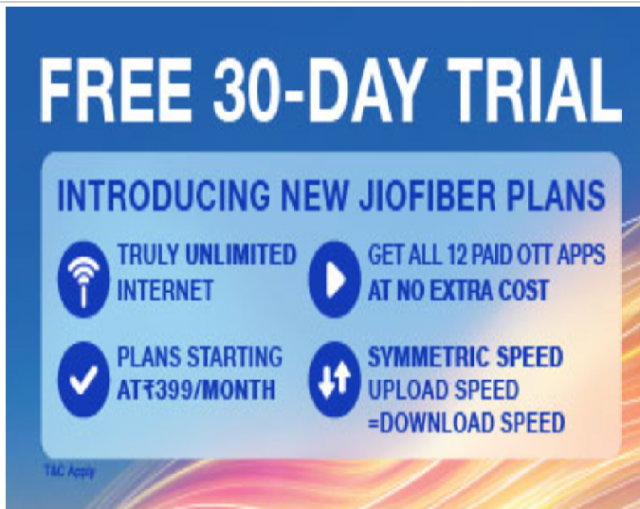 Jio Fiber Unlimited Plans - Free 30-Day Trial