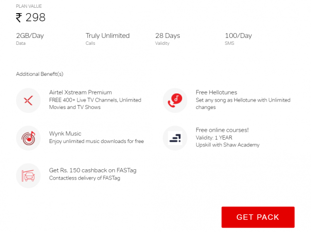 Get lots of additional benefits on airtel truly unlimited pack of Rs. 298