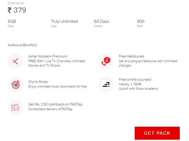 Airtel is providing lots of additional benefits in its truly unlimited pack of Rs. 379