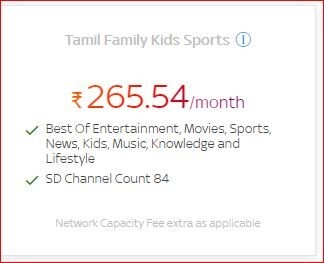 Get a lot of benefits on Tamil Family Kids Sports at only Rs.265.54/month by Tata Sky