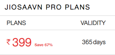Save 67% - JIOSAAVN PRO PLANS