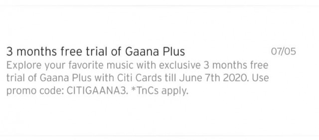 3 months free trial of Gaana Plus
