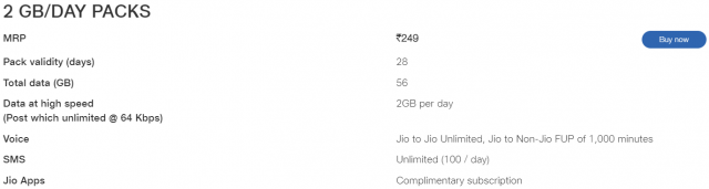 Get a Complimentary subscription of Jio Apps on JIO's popular plan of Rs. 249