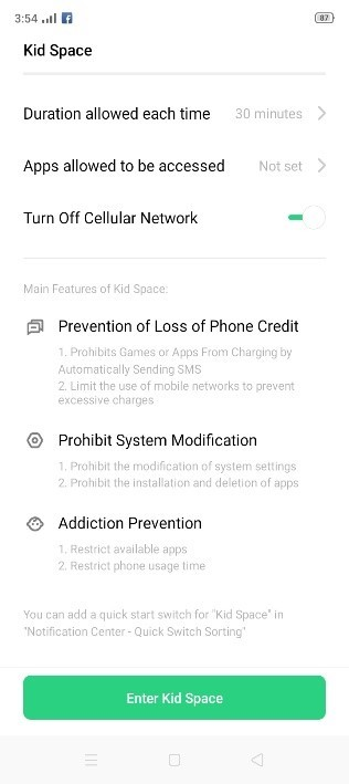 Smart Kids Space in OPPO A1K