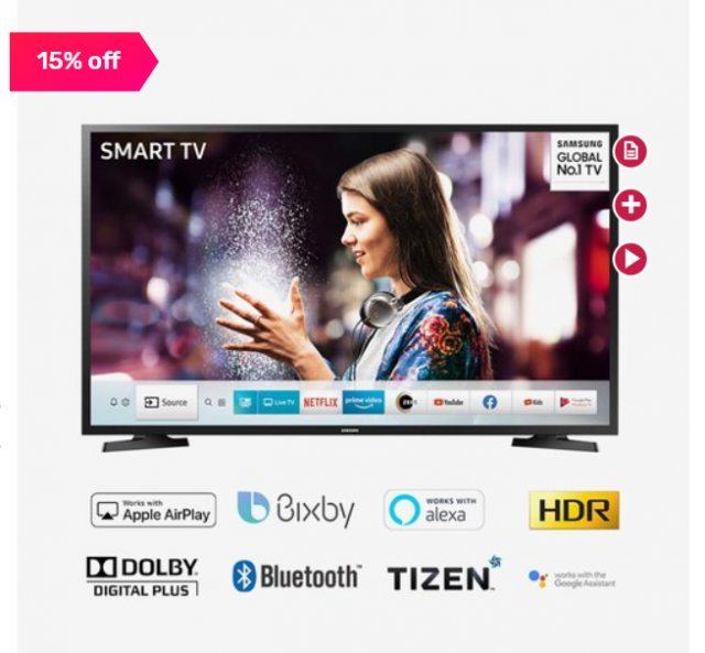 Save Rs. 6910 on Samsung 109.22cm and 43-inch Full HD LED Smart TV (UA43T5770AUXXL) (Black)