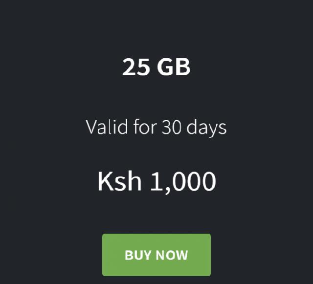 25GB  Prepaid Data Bundle for Ksh 1000