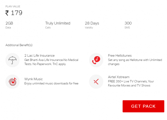 Get lots of additional benefits on airtel truly unlimited pack of Rs. 179