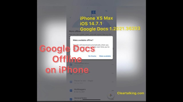 How to make a Google Docs document available offline on iPhone?